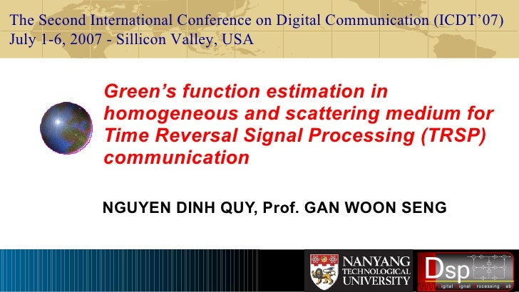 Green's function estimation in homogeneous and scattering medium for Time Reversal Signal Processing (TRSP) communication ...