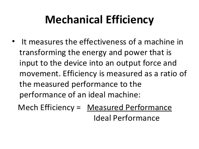 BVG8Science - dilan's page on mechanical efficiency
