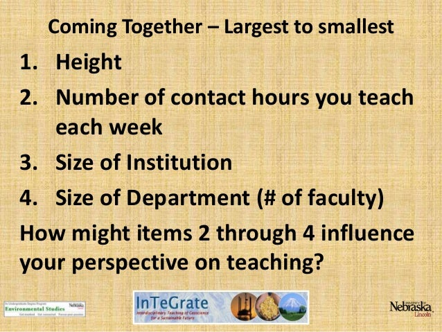 Coming Together – Largest to smallest  1. Height 2. Number of contact hours you teach each week 3. Size of Institution 4. ...
