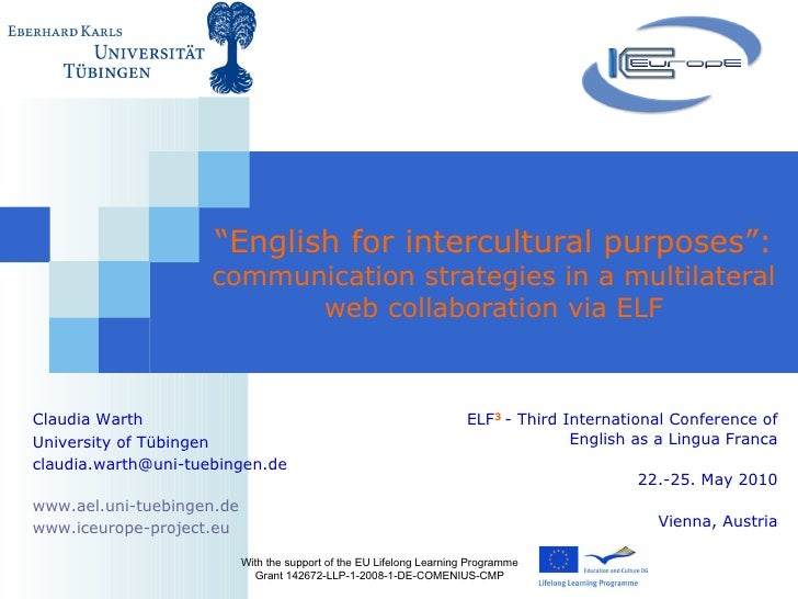 """ English for intercultural purposes"":  communication strategies in a multilateral web collaboration via ELF With the supp..."