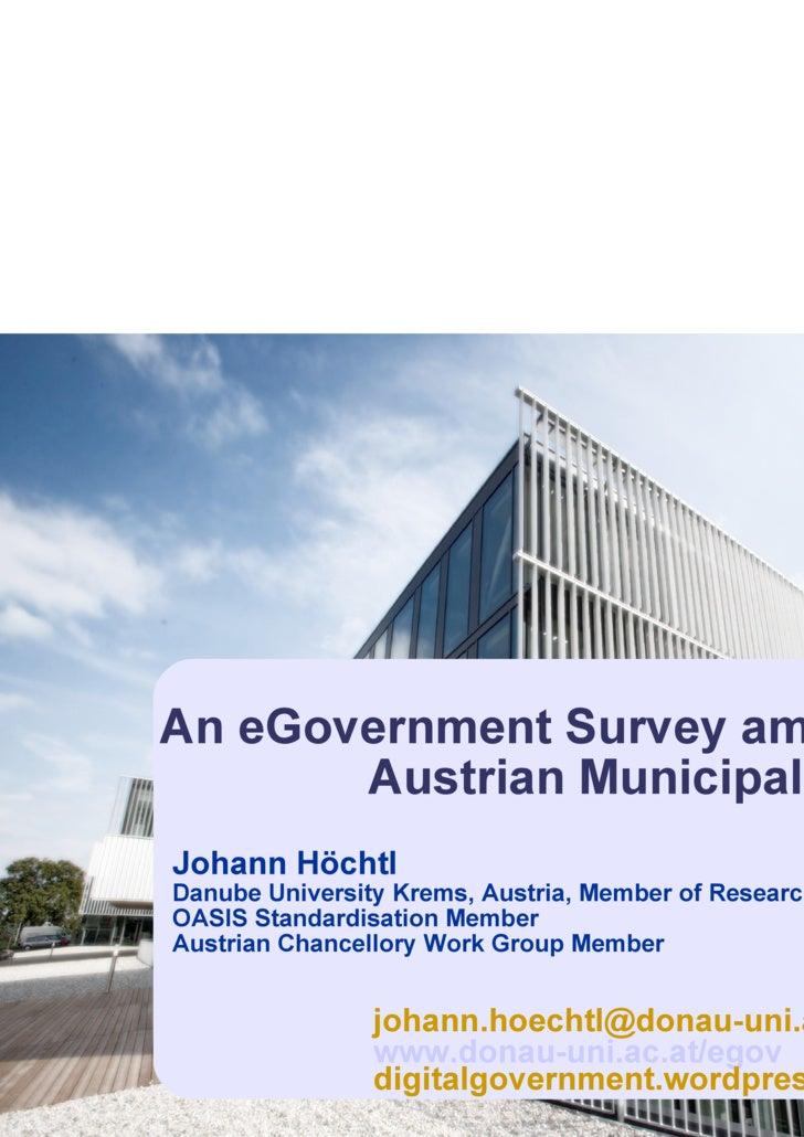 E Government Survey Among Austrian Municipalities