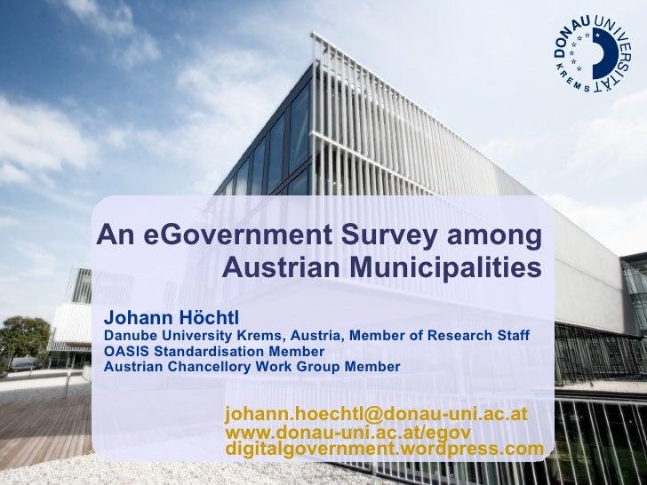 An eGovernment survey among Austrian municipalitites