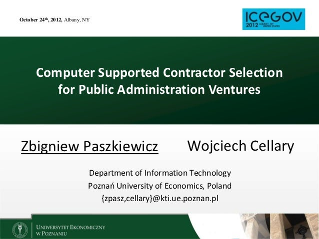 October 24th, 2012, Albany, NY       Computer Supported Contractor Selection          for Public Administration VenturesZb...