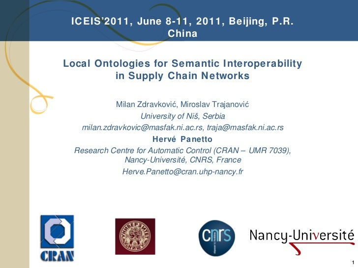 Milan Zdravkovic, Miroslav Trajanovic, Hervé Panetto, Local Ontologies for Semantic Interoperability in Supply Chain Networks