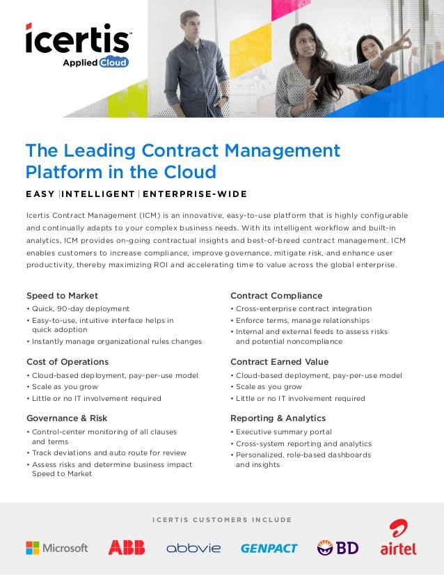 The Leading Contract Management Platform in the Cloud E ASY |I NTELLIGEN T | E NTERPRISE-WIDE Icertis Contract Management ...