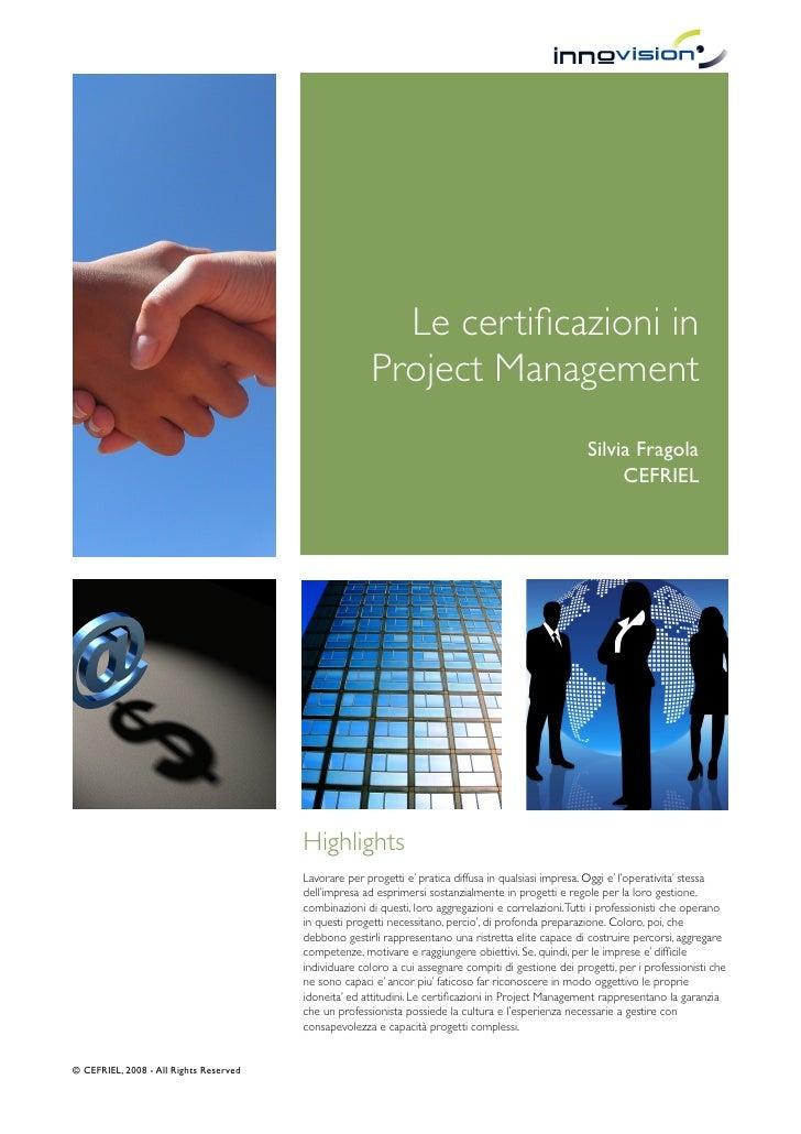 Le certificazioni in Project Management