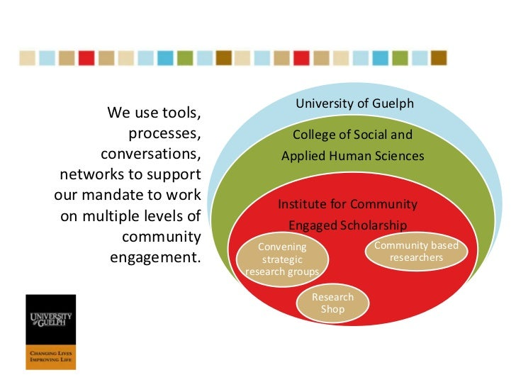 """University of Guelph<br />""""The Institute for Community Engaged Scholarship (ICES) fosters collaborative and mutually benef..."""