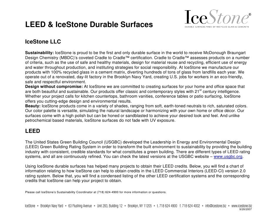 LEED & IceStone Durable Surfaces  IceStone LLC Sustainability: IceStone is proud to be the first and only durable surface ...