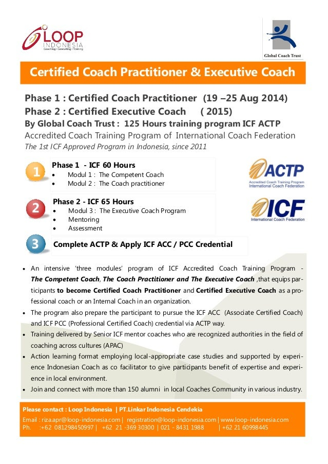 Phase 1 : Certified Coach Practitioner (19 –25 Aug 2014) Phase 2 : Certified Executive Coach ( 2015) By Global Coach Trust...