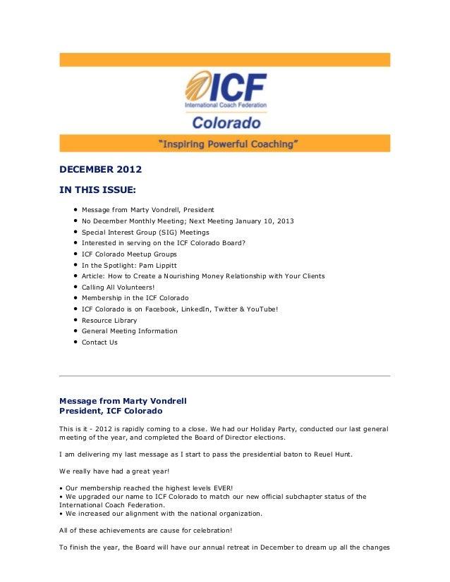 December 2012 ICF Colorado Newsletter