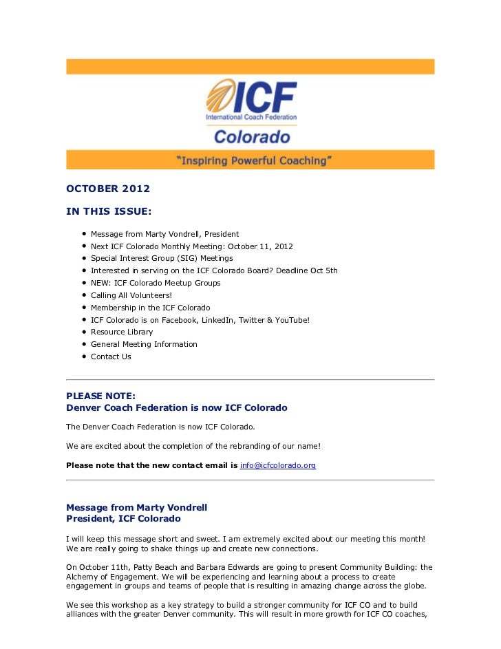 OCTOBER 2012IN THIS ISSUE:      Message from Marty Vondrell, President      Next ICF Colorado Monthly Meeting: October 11,...