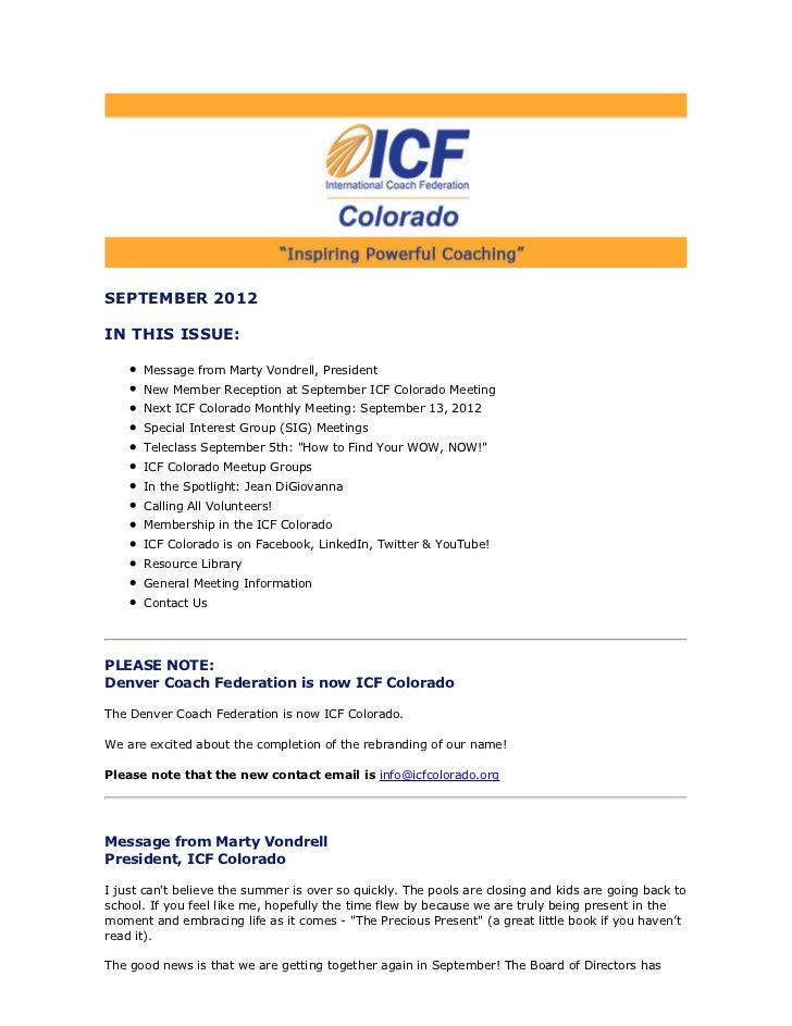 ICF Colorado Newsletter September 2012
