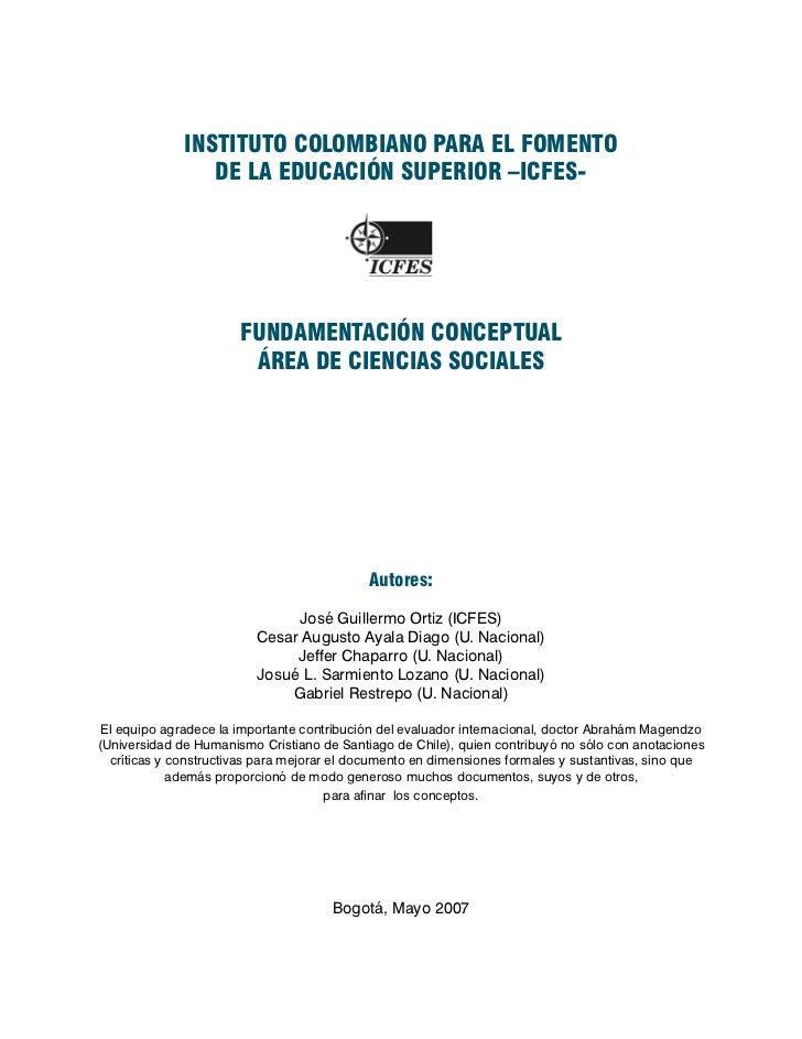 Icfes fundamentación conceptual área de ciencias sociales