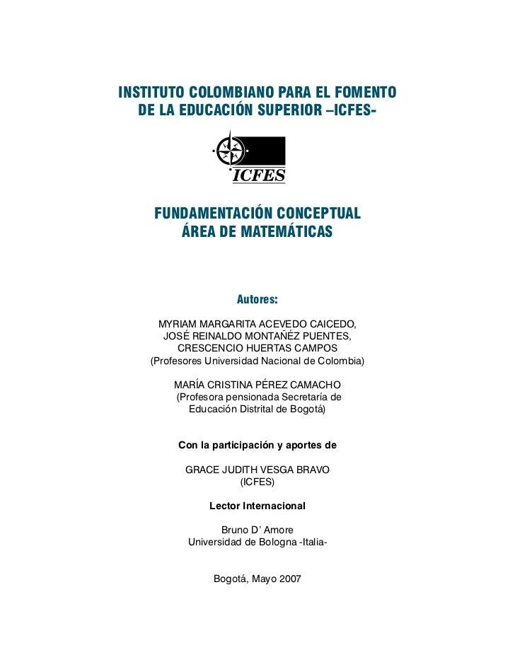 Icfes fundamentación conceptual área de matemáticas