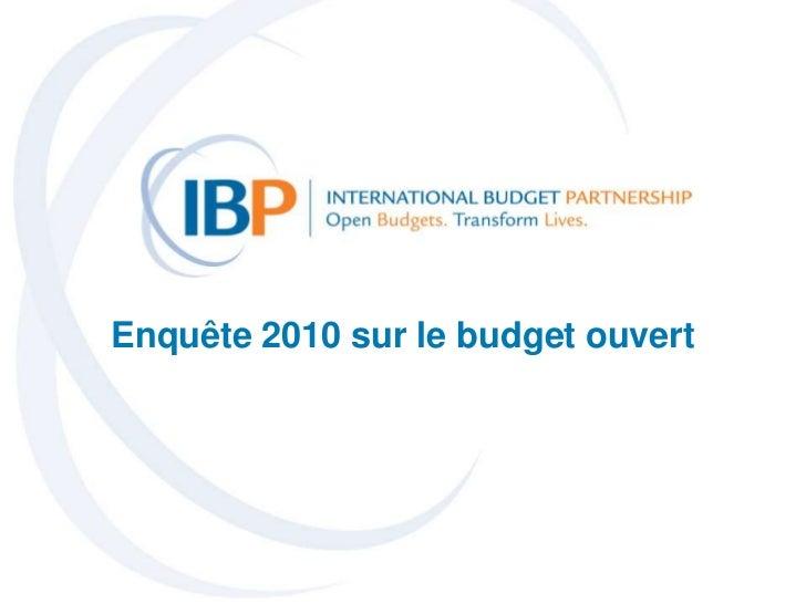Enquete 2010 sur le budget ouvert