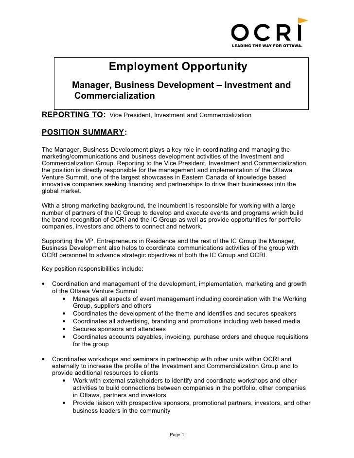 Business Management Job Description Business Development Manager – Development Director Job Description