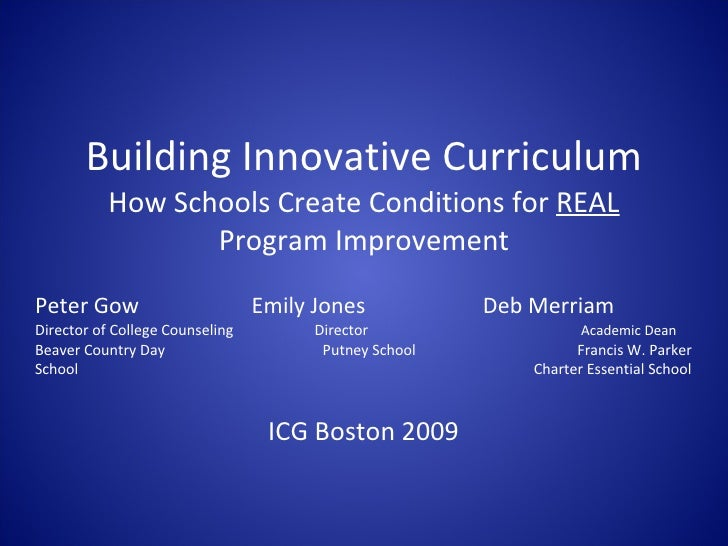 Building Innovative Curriculum