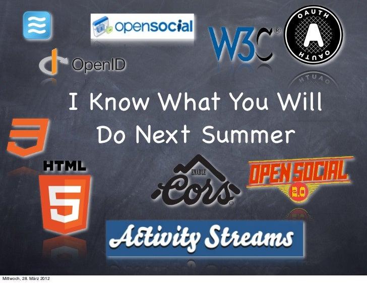 I Know What You Will                            Do Next SummerMittwoch, 28. März 2012