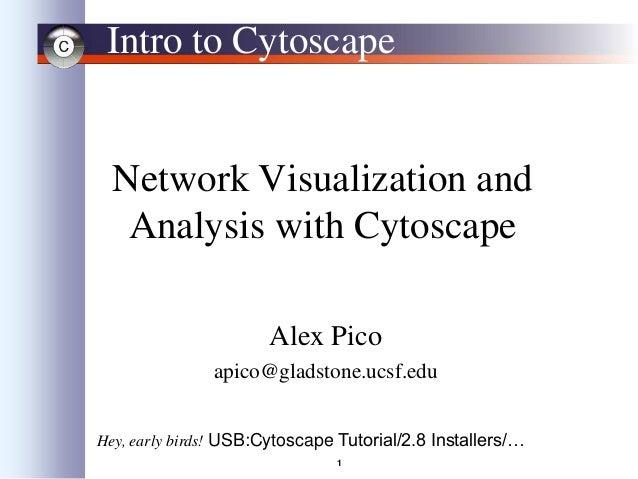 1 Intro to Cytoscape Network Visualization and Analysis with Cytoscape Alex Pico apico@gladstone.ucsf.edu Hey, early birds...