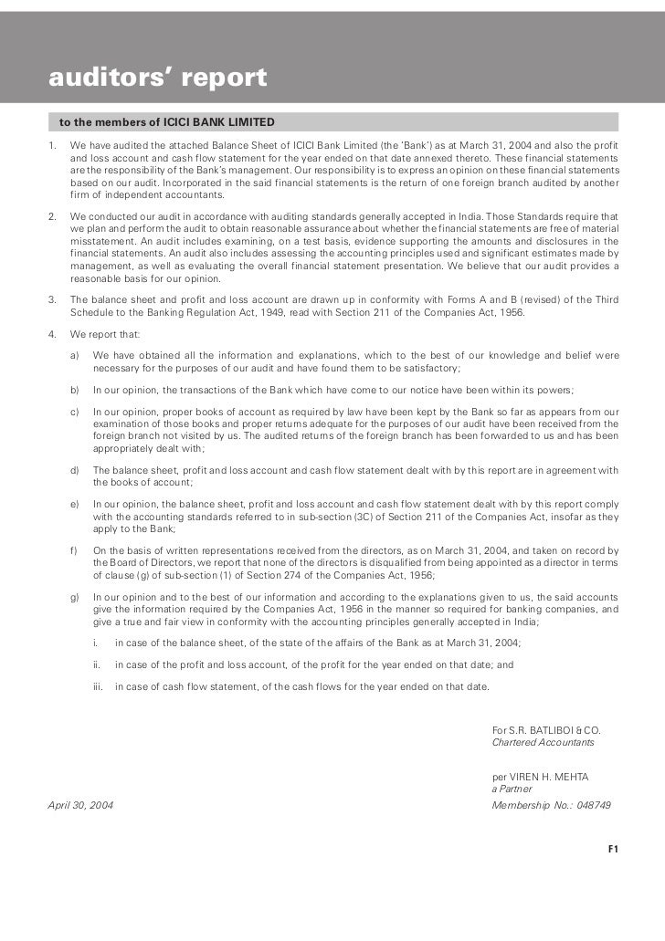 auditors' report     to the members of ICICI BANK LIMITED1.    We have audited the attached Balance Sheet of ICICI Bank Li...