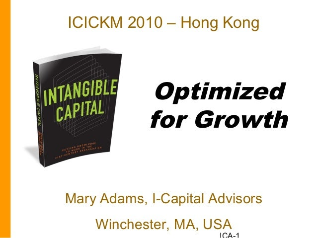 Optimized for Growth Mary Adams, I-Capital Advisors Winchester, MA, USA ICICKM 2010 – Hong Kong
