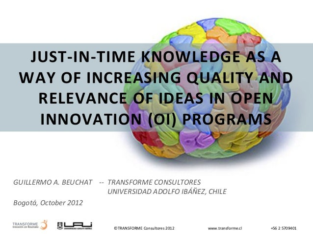 TRANSFORME - Just-in-Time Knowledge as a way of increasing quality and relevance of iddeas in open innovation (OI) programs