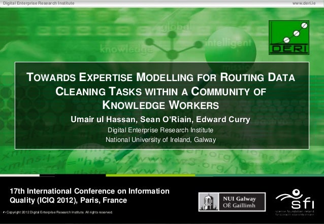 Towards Expertise Modelling for Routing Data Cleaning Tasks within a Community of Knowledge Workers