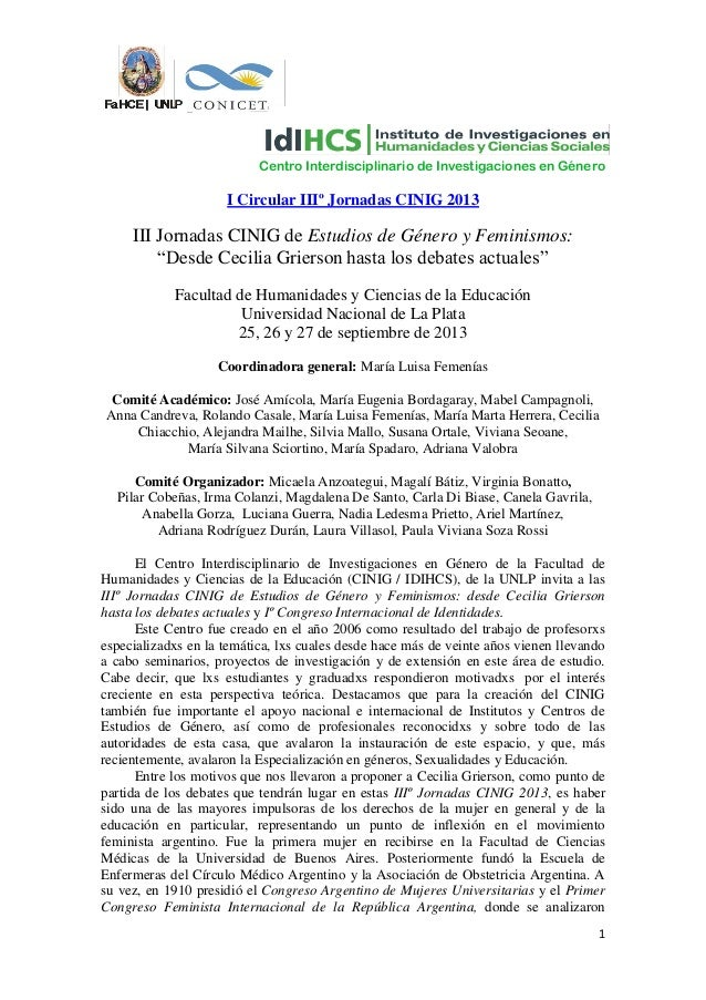 III Jornadas CINING 2013  - FaHCE - UNLP - I Circular