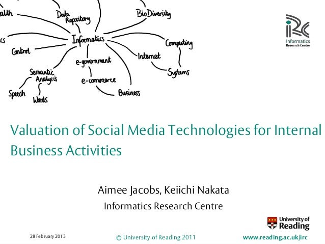 Valuation of Social Media Technologies for InternalBusiness Activities                      Aimee Jacobs, Keiichi Nakata  ...