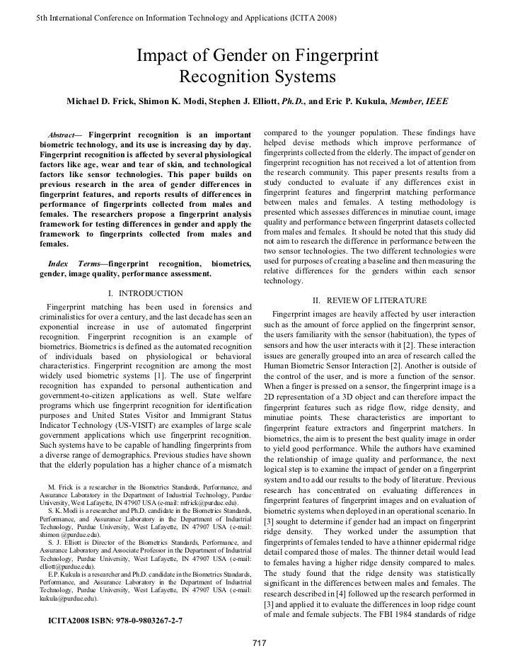(2008) Impact of Gender on Fingerprint Recognition Systems