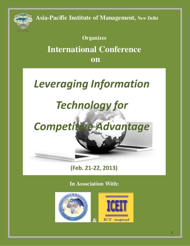 Asia-Pacific Institute of Management, New Delhi                  Organizes    International Conference               on   ...