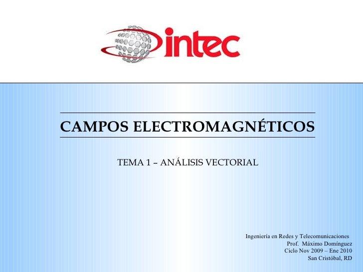 CAMPOS ELECTROMAGN ÉTICOS TEMA 1 – AN ÁLISIS VECTORIAL Ingeniería en Redes y Telecomunicaciones  Prof.  Máximo Domínguez C...