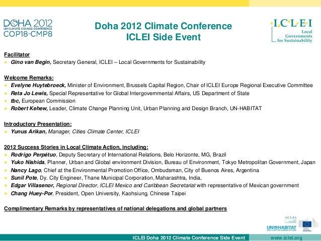 Doha 2012 Climate Conference                                          ICLEI Side EventFacilitator● Gino van Begin, Secreta...