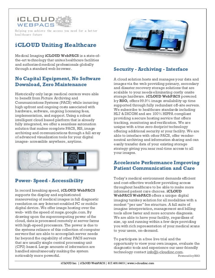 Helping you achieve the access you need for a betterhealthcare futureiCLOUD Uniting HealthcareMedical Imaging iCLOUD WebPA...
