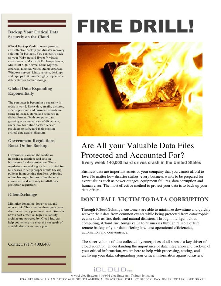 Backup Your Critical DataSecurely on the Cloud                                                 FIRE DRILL!iCloud Backup Va...