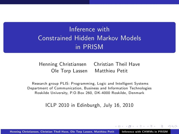 Inference with                    Constrained Hidden Markov Models                                in PRISM                ...