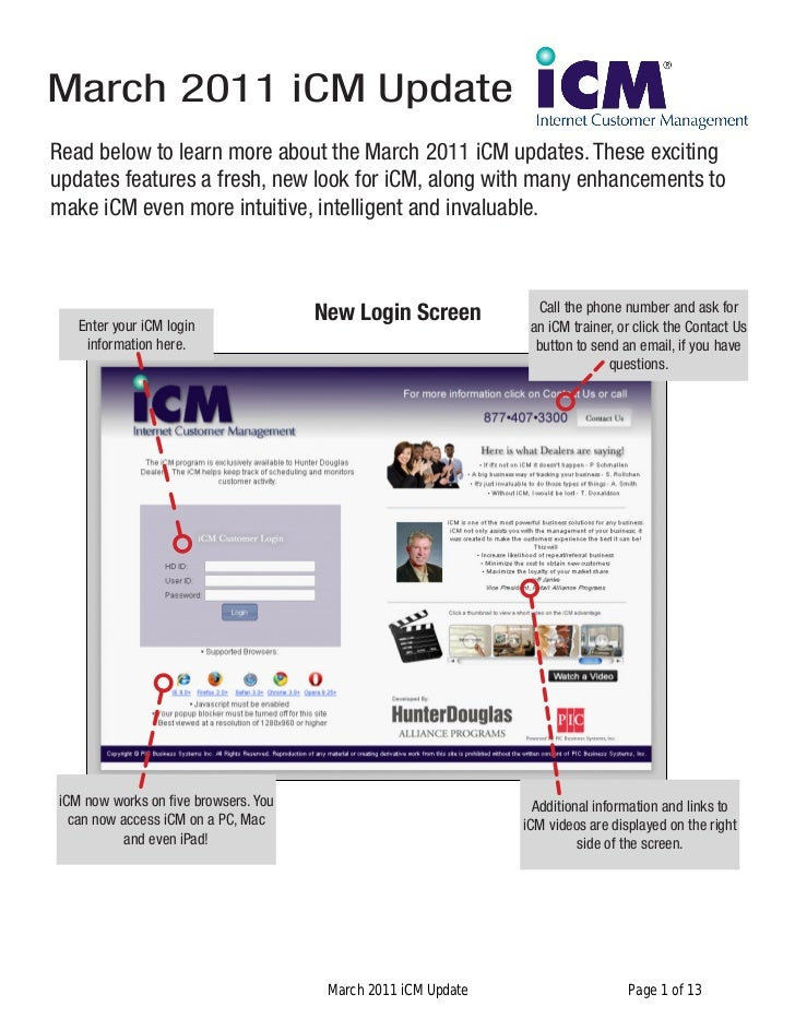 March 2011 iCM UpdateRead below to learn more about the March 2011 iCM updates. These excitingupdates features a fresh, ne...