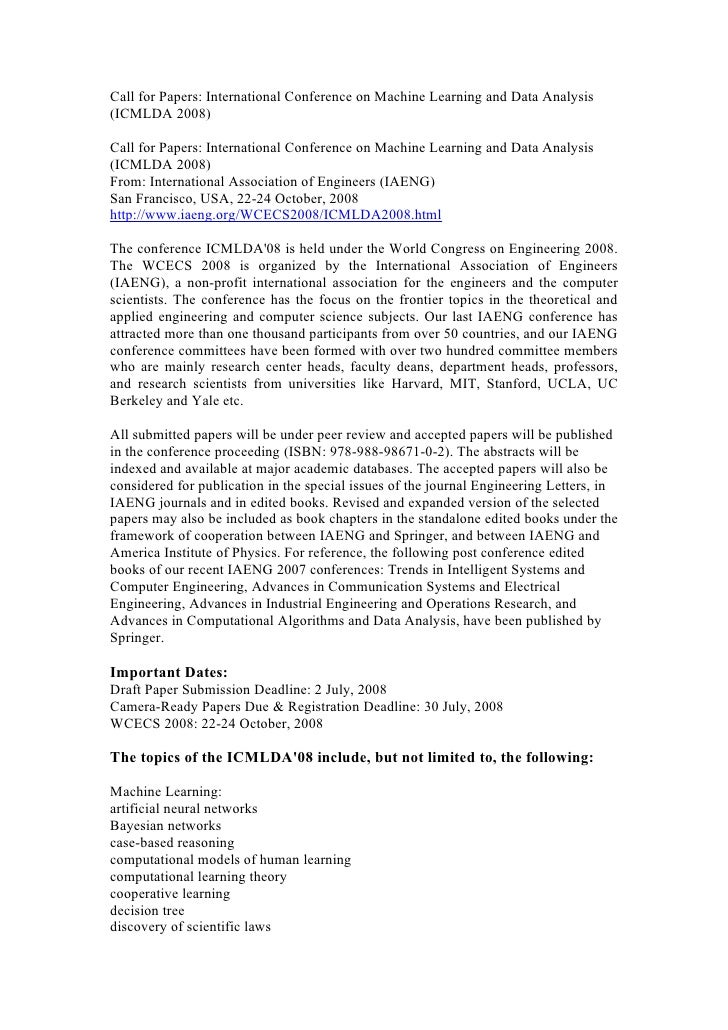 Call for Papers: International Conference on Machine Learning and Data Analysis (ICMLDA 2008)  Call for Papers: Internatio...
