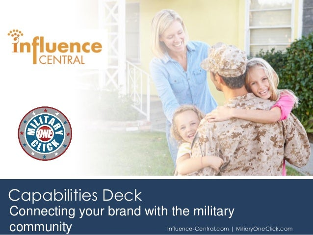 Connecting your brand with the military community Influence-Central.com | MiliaryOneClick.com Capabilities Deck