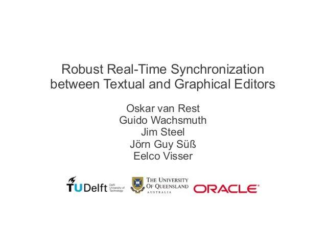 Robust Real-Time Synchronizationbetween Textual and Graphical EditorsOskar van RestGuido WachsmuthJim SteelJörn Guy SüßEel...