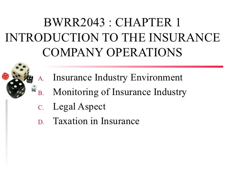 BWRR2043 : CHAPTER 1INTRODUCTION TO THE INSURANCE     COMPANY OPERATIONS    A.   Insurance Industry Environment    B.   Mo...