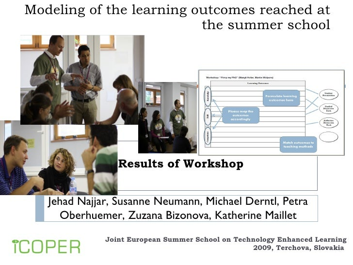 Modeling of the learning outcomes reached at the summer school