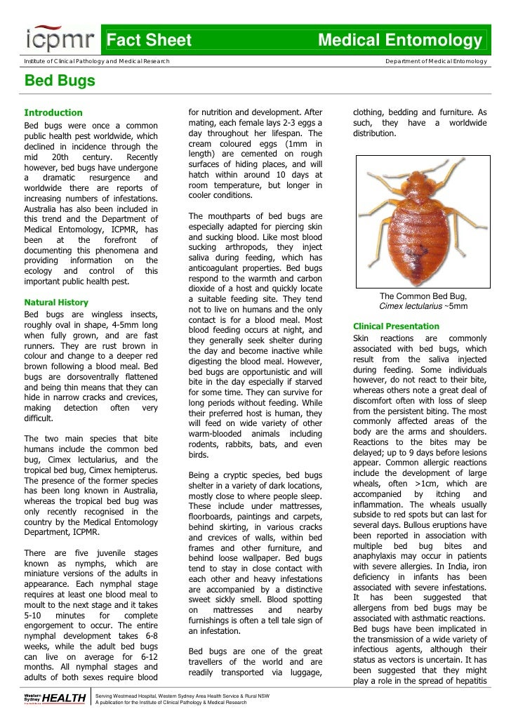 Fact Sheet                                                               Medical Entomology Institute of Clinical Patholog...