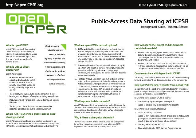 RDAP14 Poster: openICPSR: a public access repository for storing and sharing social and behavioral science research data