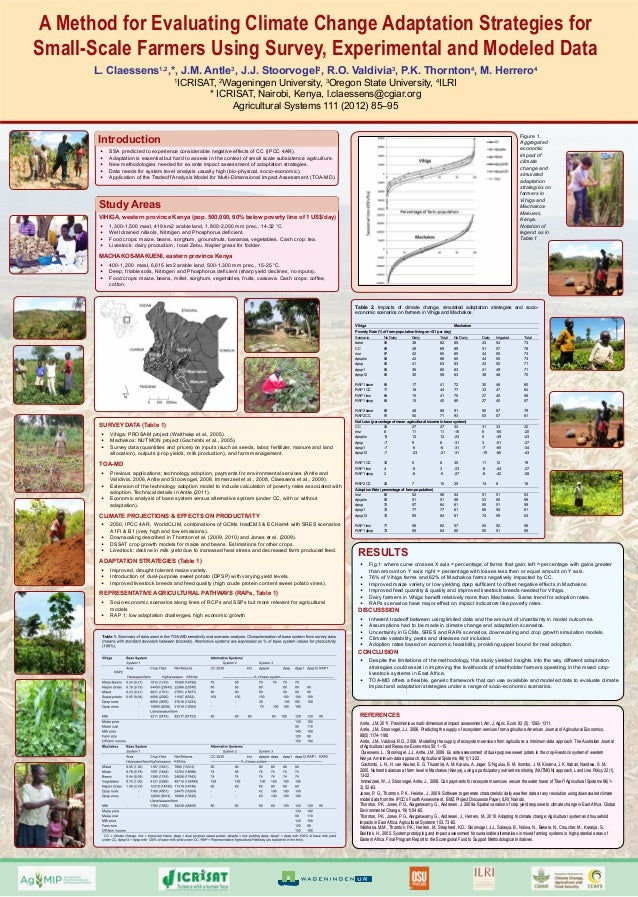 A Method for Evaluating Climate Change Adaptation Strategies for Small-Scale Farmers Using Survey, Experimental and Modeled Data