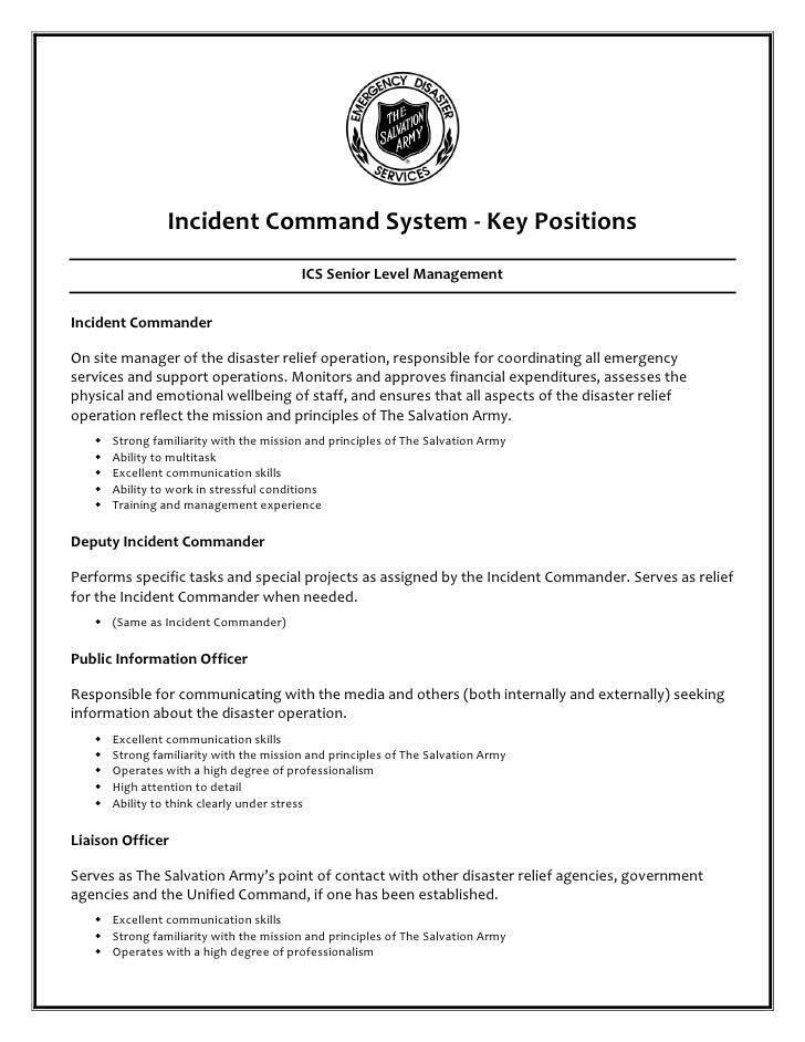Incident Command System - Key Positions                                         ICS Senior Level ManagementIncident Comman...