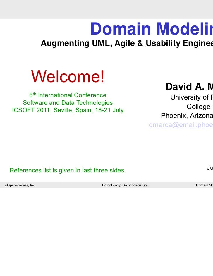 Domain Modeling                     Augmenting UML, Agile & Usability Engineering..               Welcome!                ...