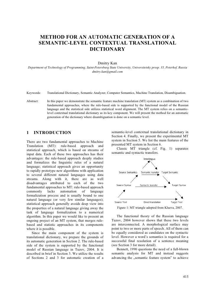 METHOD FOR AN AUTOMATIC GENERATION OF A            SEMANTIC-LEVEL CONTEXTUAL TRANSLATIONAL                           DICTI...
