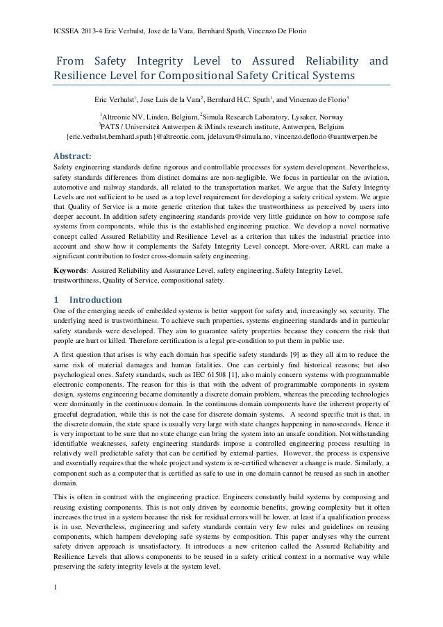 ICSSEA 2013-4 Eric Verhulst, Jose de la Vara, Bernhard Sputh, Vincenzo De Florio  From Safety Integrity Level to Assured R...