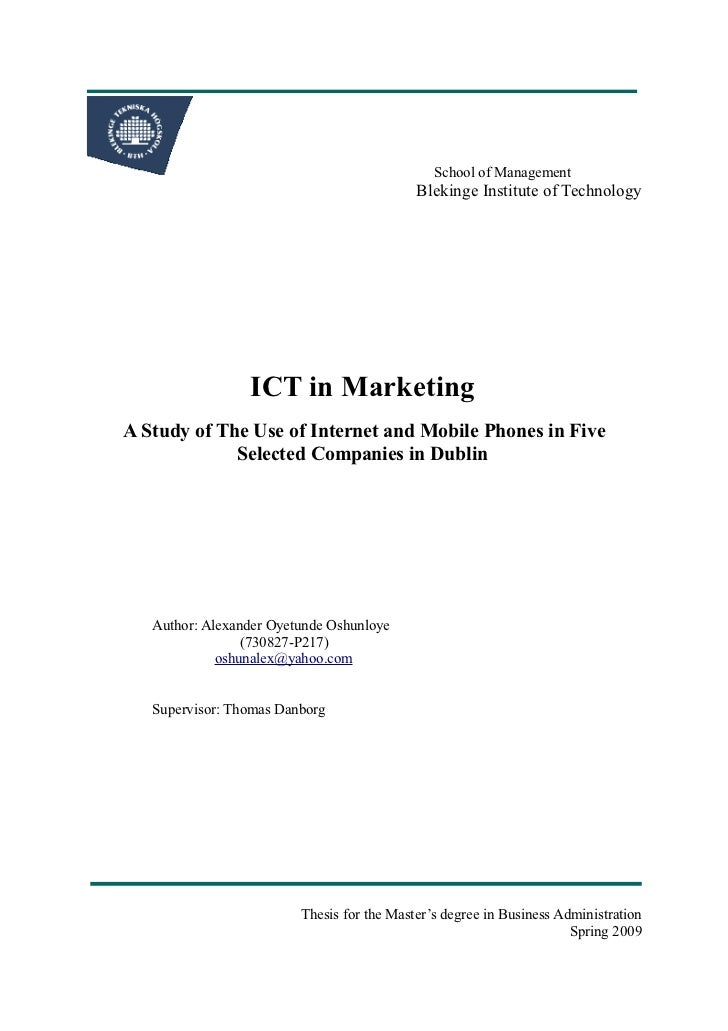 School of Management                                            Blekinge Institute of Technology                 ICT in Ma...